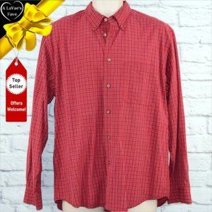 IZOD Red Plaid Button Down Front Pocket Shirt